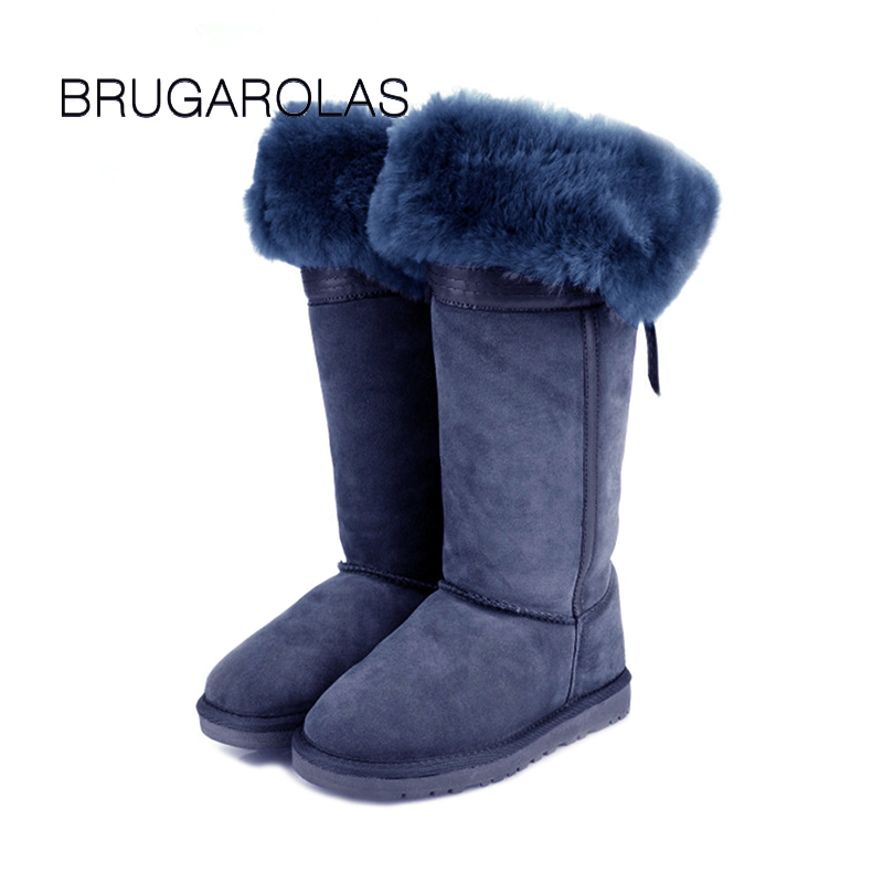 BRUGAROLAS - 2017 genuine sheepskin fur 100% wool bowknot knee-high snow boots waterproof leather boots winter warm shoes faux fur knitted bowknot snow boots