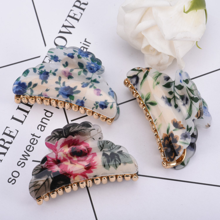 2019 New Designer   Headwear   For Women Floral Print Acrylic Hair Claw Clips Plastic Gold Plated Shower Disc Hair Clamps In Summer