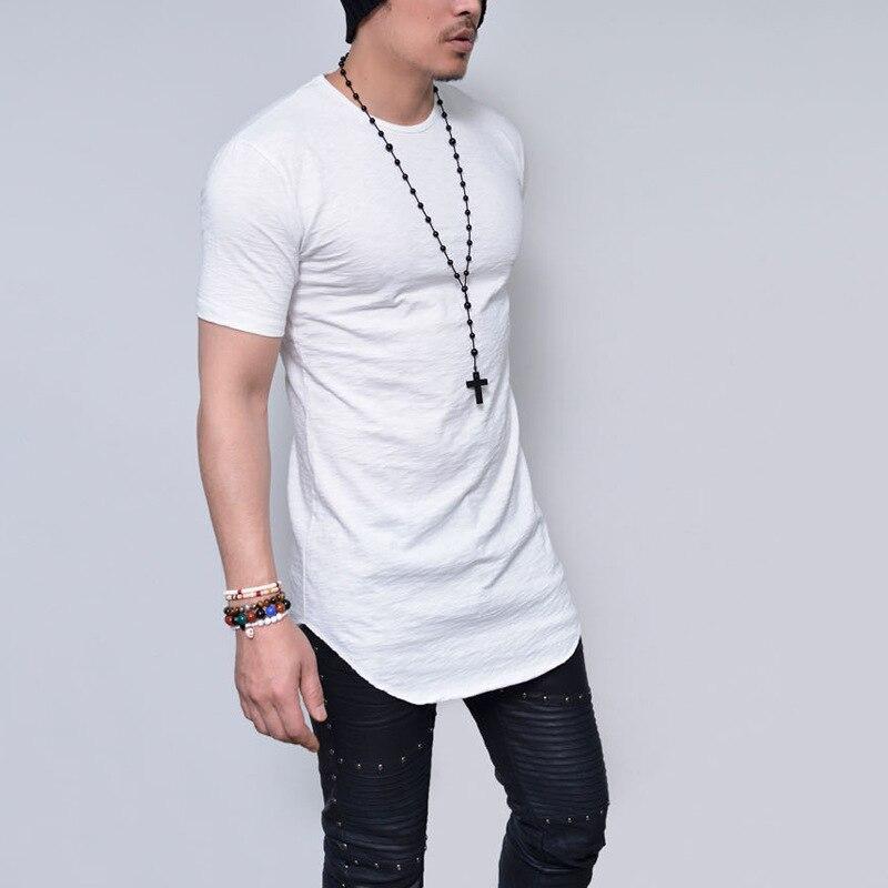 2018 Nova Chegou Homens camisa Curto da luva t de GRÃOS Slub algodão homens camiseta Extened Espinhel hem curva streetwear t-shirt dos homens