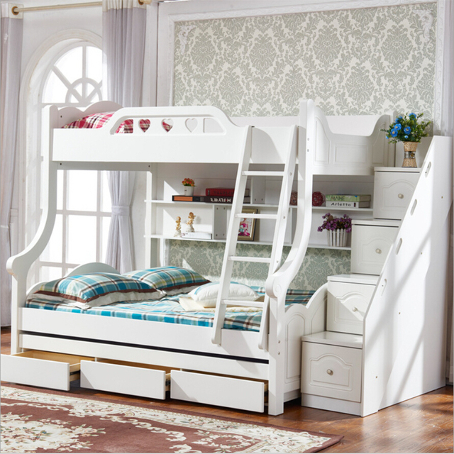 Webetop Mediterranean Style Wood Bed Childrens Double Multifunctional Storage Trailer Bunk Household Furniture