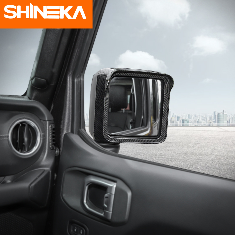 SHINEKA Mirror Covers Car Rearview Mirror Rain Eyebrow Decoration Frame Trim Stickers For Jeep Wrangler JL 2018 Accessories in Mirror Covers from Automobiles Motorcycles