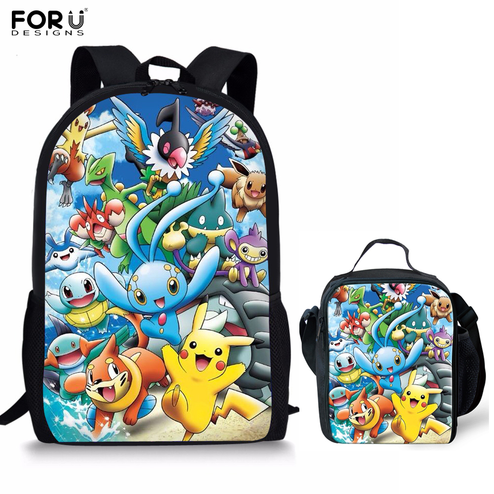 372c42701781 FORUDESIGNS Anime Pokemon Schoolbag Backpack Pocket Monster Pikachu Prints  Kids Cartoon School Bag Teenage Girls Boys