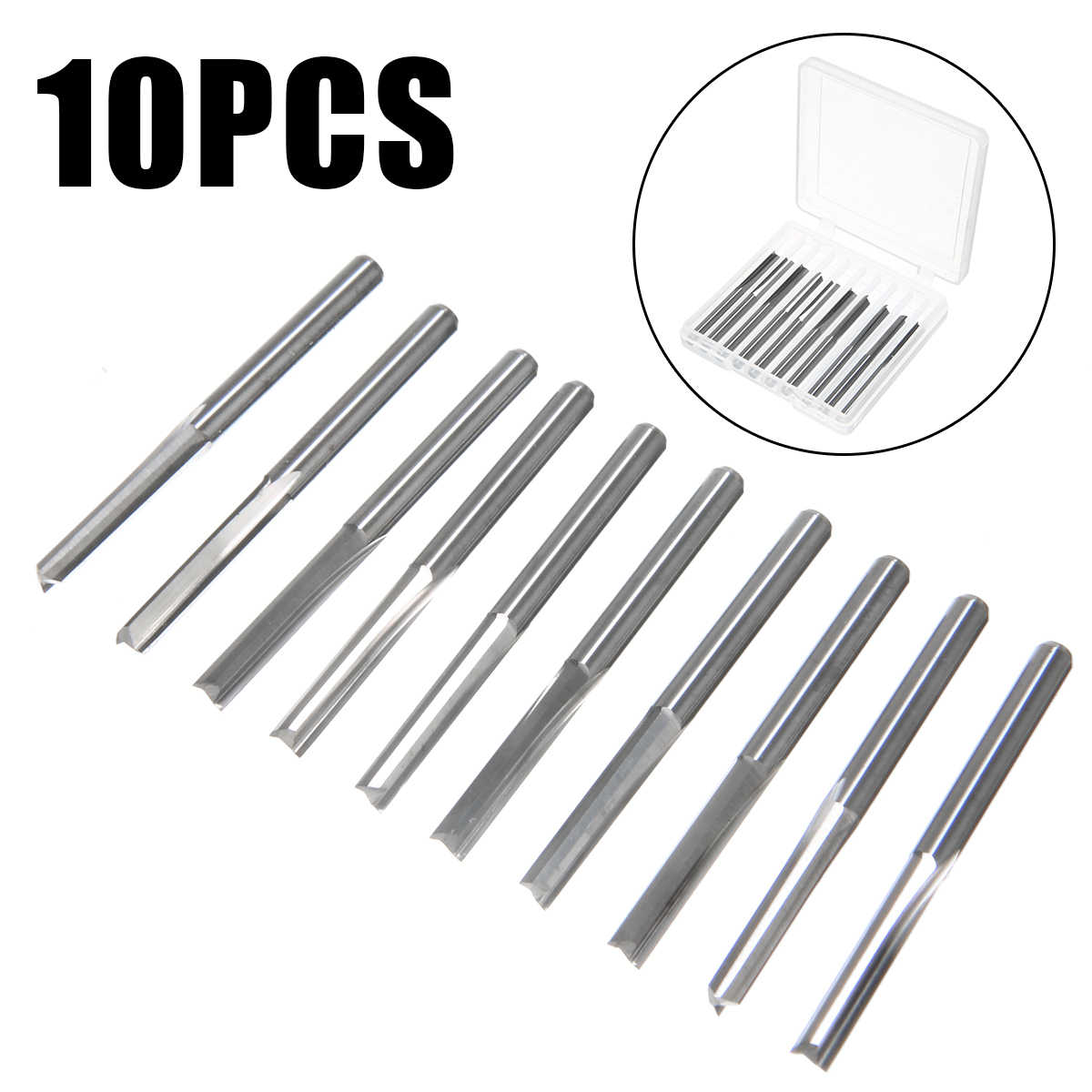 10pcs 2 Flute Straight Slot Tungsten Steel CNC Router Bits Wood Milling 3.175mm