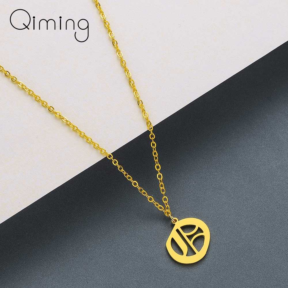 QIMING Letter Pendant Necklaces Initial Necklace Stainless Steel Choker A B C D E F G H I J K L M N Necklace Women Jewelry