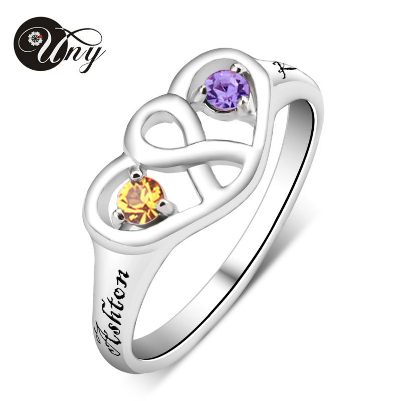 UNY Ring 925 Silver Promise Customized Love DIY Engrave Rings Family Heirloom Mother Ring Personalized Infinity Birthstone Rings