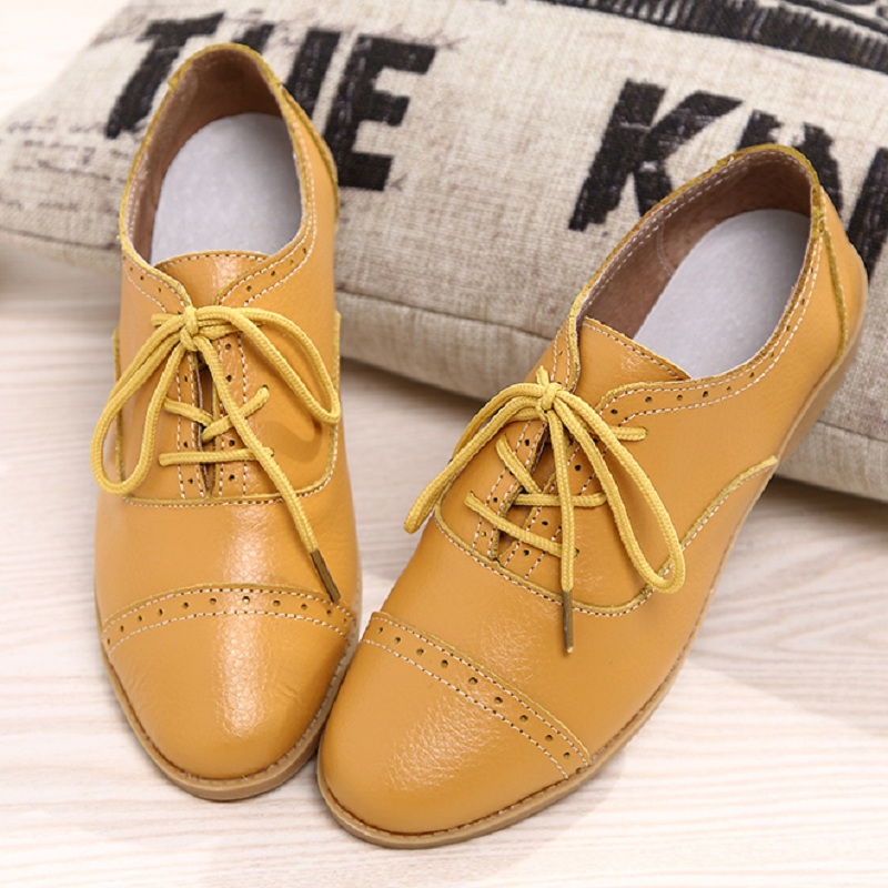 Designer Summer Oxford Genuine Leather Women Flats Brogue Soft White Black Casual Shoes Pointed Toe Chaussure