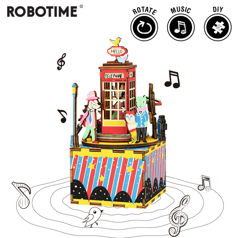 Robotime DIY Phone Booth 3D Wooden Puzzle Game Assembly Rotatable Music Box Toy Gift For Children Adult AM401
