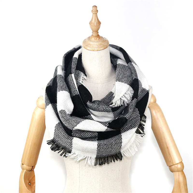 2019 winter women blanket   scarf   infinity style with frayed edges Plaid & Tartan Winter Infinity   Scarf     Wraps   shawl foulard femme