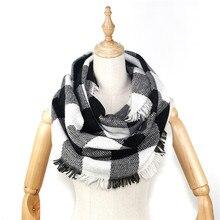 2019 winter women blanket scarf infinity style with frayed edges Plaid & Tartan Winter Infinity Scarf Wraps shawl foulard femme