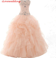2015 Custom Made Peach Long Quinceanera Dresses Ball Gown Beaded Girls Organza Vestidos De 15 Anos
