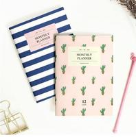 2016 A6 Monthly Planner V 2 PVC Cover 36 Pages Cactus Marine Design Korean Fashion Students