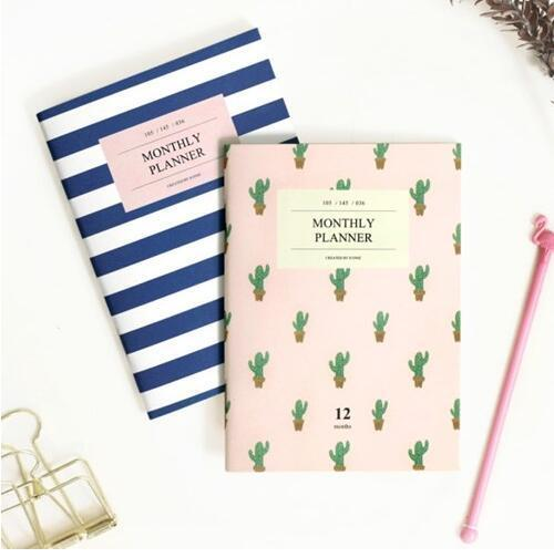 A6 36P Yearly Monthly Planner Organizer Agenda 2016 2017 Catcus Marine Student Notebook and Journals papelaria