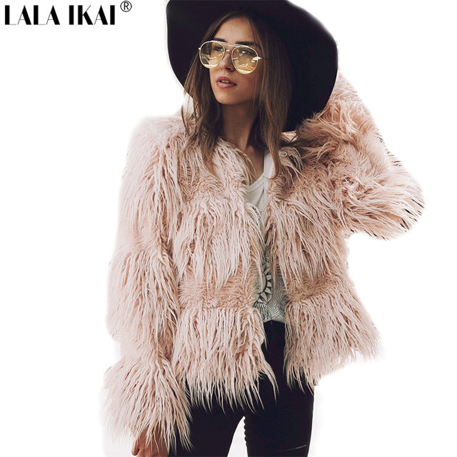 Chic Winter Fluffy Long Hair Women Faux Fur Coat Black Gray Pink Green  Solid Color Plus