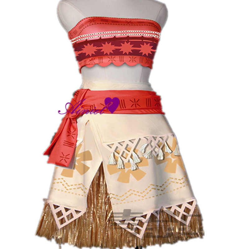 Anime Moana Cosplay Costume  Princess Moana Cosplay Summer Dress  for Adult and Kids (top+skirt+waistband)