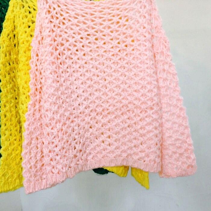 2018 Nouveau Yellow Sélections Casual Lady Femmes Toutes Solide Mode Lâche Évider Tops Les Tricoté Couleur green Blouse pink Bonbons pwqagtw
