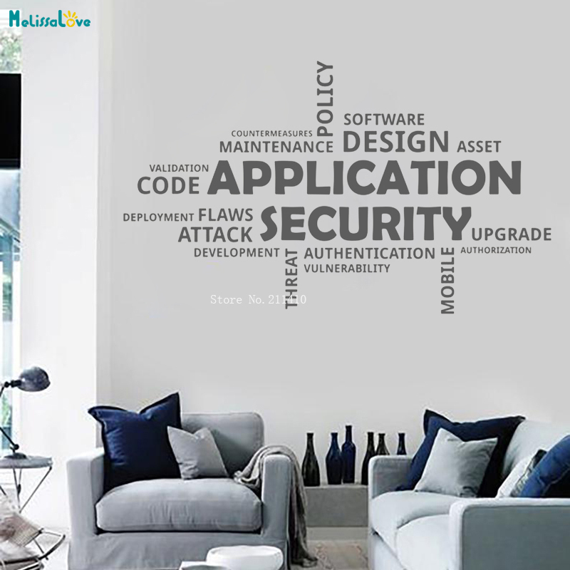 US $7.97 25% OFF|Application Security Wall Decal Office Motivation Home  Decor Living Room Vinyl Stickers Word Art Mural Gift Removable YT1258-in  Wall ...