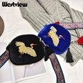 2017 Tassel Women Messenger Bags Vintage Jacquard Crane Ribbon Velvet Mini Messenger Bag Shoulder Handbags Crossbody