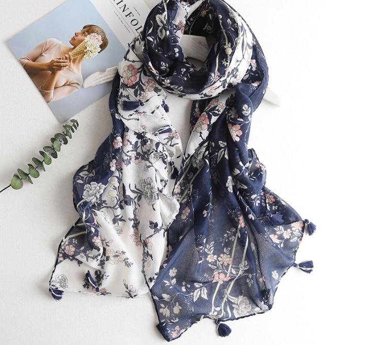 2018 Fashion Bohemia Style Flower Tassel   Scarf   Shawls Women Floral   Scarves     Wrap   Hijab Wholesale 10pcs/lot Free Shipping