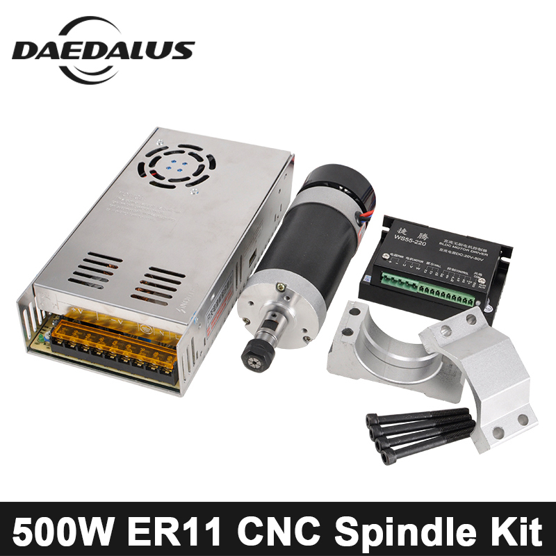 Brushless 500W CNC Spindle Motor ER11 DC Spindle Router Kit +55MM Clamp + Stepper Motor Driver +Switch Power Supply For Milling er11 brushless dc spindle 500w 55mm clamp stepper motor driver power supply cnc cutters