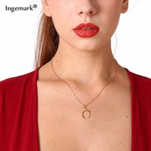Ingemark Women's Box Necklace with Ox Horn Pendant Choker Foundry Shiny Moon Charm Necklaces Bohemian Christmas Gift(China)