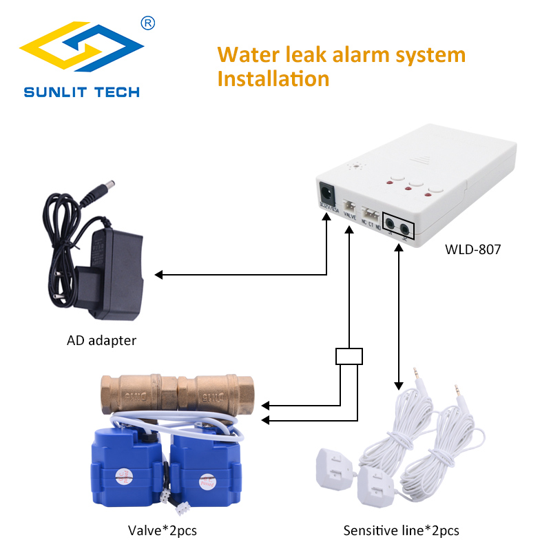Professional Water Flood Sensor Alarm System with DN15 DN20 DN25 BSP Brass Valve for Smart Home