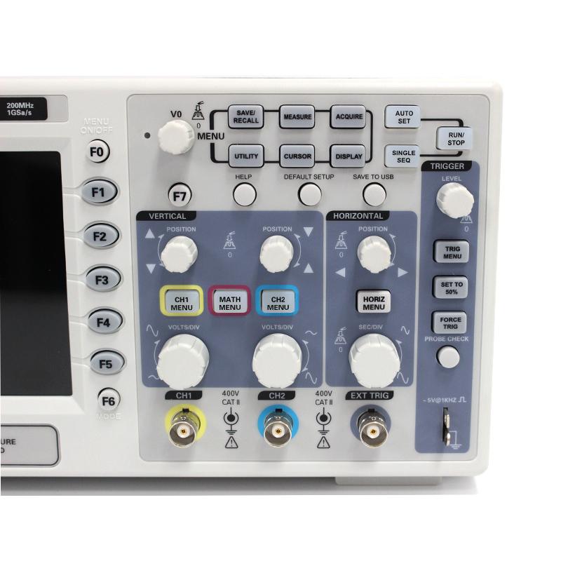 Osciloscopio Hantek DSO5202P Digital Oscilloscope USB 200MHz bandwidth 2 Channels 1GSs PC Storage LCD Record length up to 24K (5)