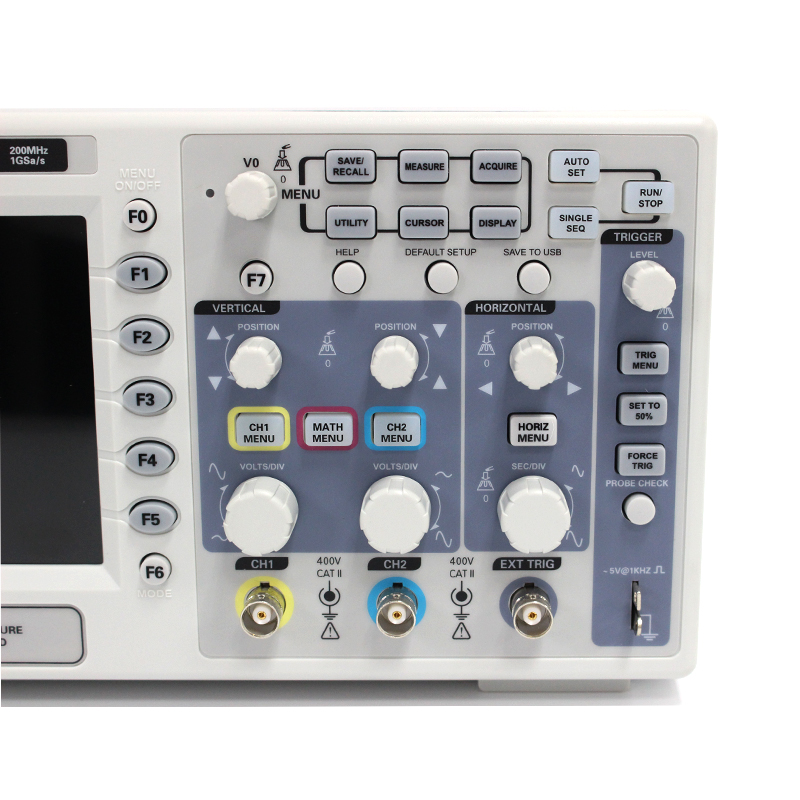 Osciloscopio Hantek DSO5202P Digital Oscilloscope USB 200MHz bandwidth 2 Channels 1GSs PC Storage LCD Record length up to 24K (5)