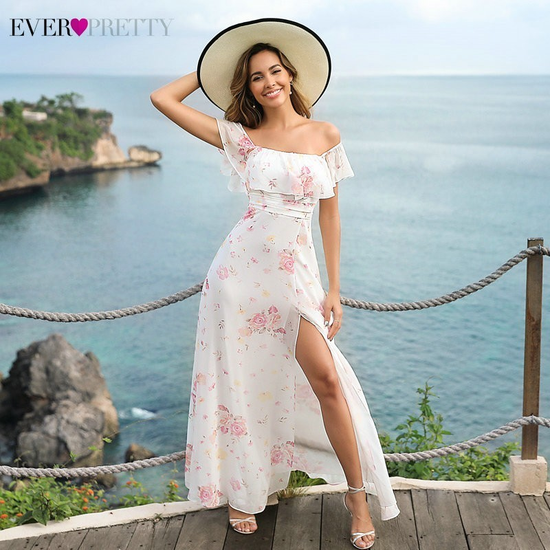 Ever Pretty Long Prom Dresses 2020 Ever Pretty EP07381 Sexy Floral Printed A-line Sleeveless Chiffon Cheap Wedding Party Gowns