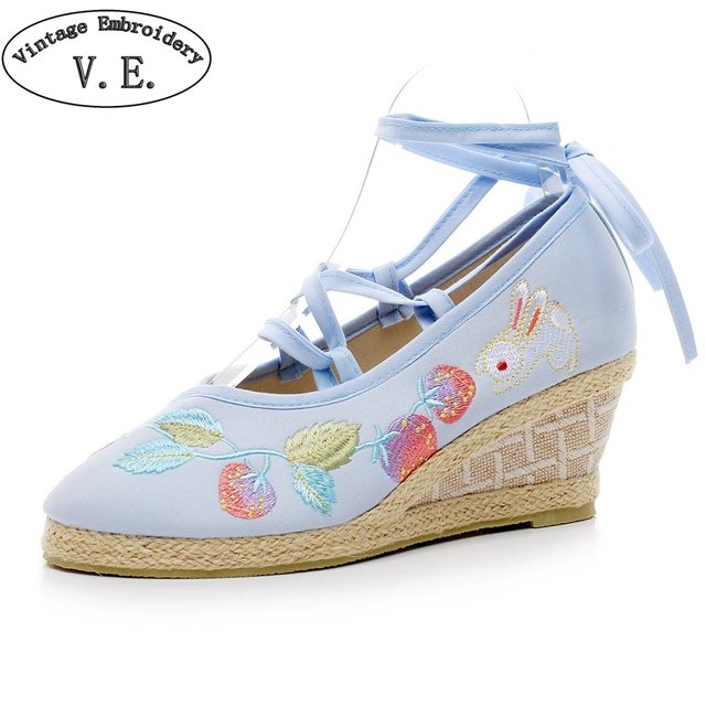 389c52f5cb49 Vintage Embroidery High Heel Shoes Women Candy Color Lace Up Wedges Shoes  For Woman Ladies Ethnic Pumps Zapatos Mujer Tacon