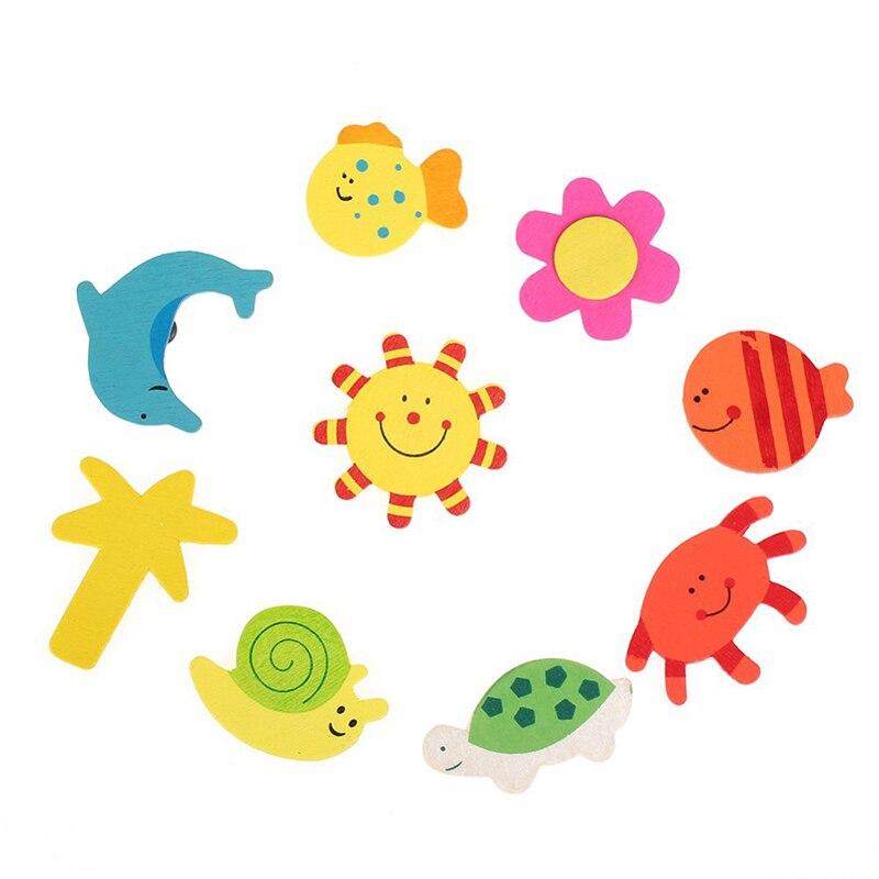12 шт. Творческий прекрасные дети детские дерево мультфильм магнит на холодильник ребенка развивающие Игрушечные лошадки милые животные Ст...