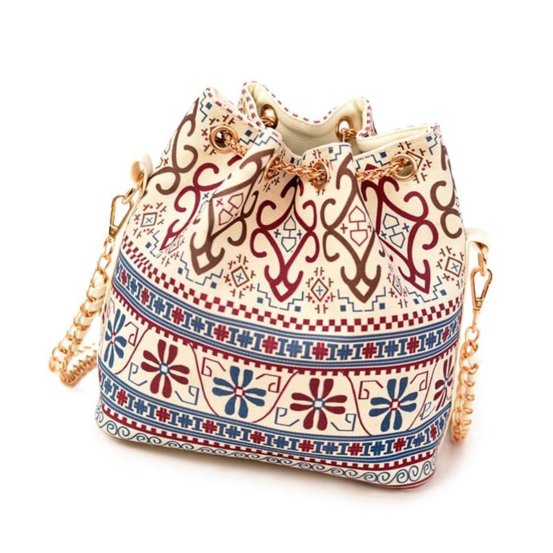 Canvas Drawstring Bucket Bag Chains Shoulder Handbags Women's Vintage Messenger Bags Bolsa Feminina Bolsos