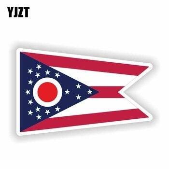 YJZT 13,9 CM * 8,5 CM Accesorios bandera del Estado de Ohio bandera del mapa casco de motocicleta divertida pegatina de PVC pegatina de coche 6-1841
