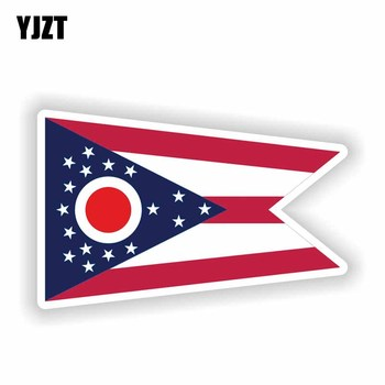 YJZT 13.9CM*8.5CM Accessories Ohio State Flag Map Flag Funny Motorcycle Helmet PVC Decal Car Sticker 6-1841 image