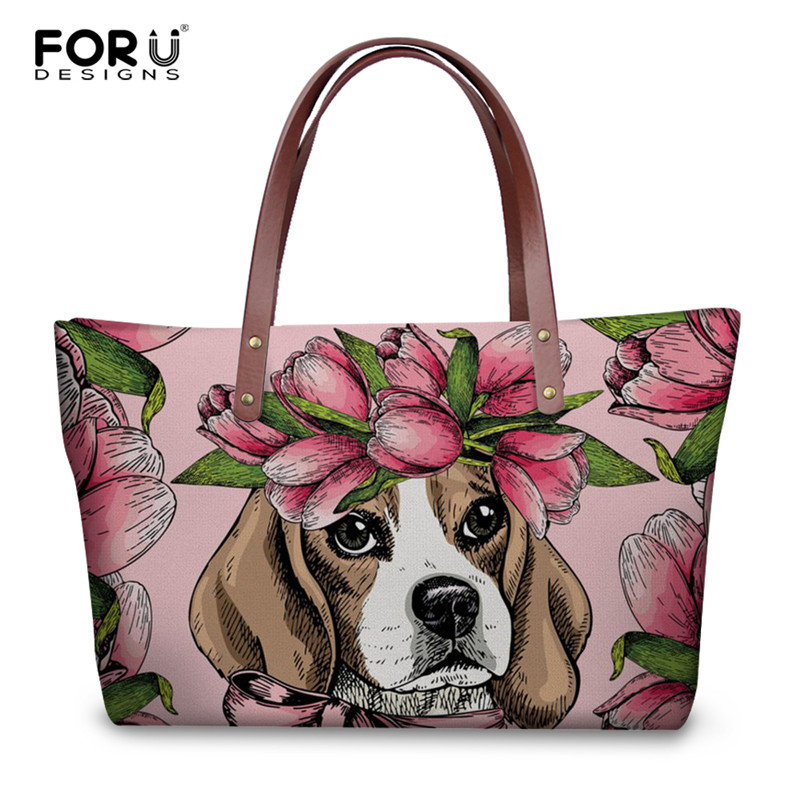 FORUDESIGNS Handbags Floral Beagle/Pug/Jack Russell Terrier Printing Women's Tote Bags Female Luxury Handbag Casual Shoulder Bag камера заднего вида silverstone f1 interpower ip 616 ir универсальная