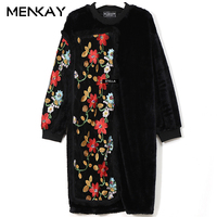 Loose Patchwork Embroidery Nail Bead Ladies Dress Thicken Lantern Sleeve Patch Designs Tassels Women Dresses Winter