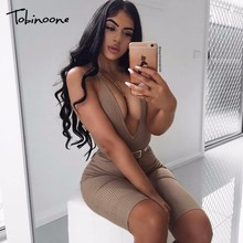 Tobinoone Wholesale Retail Summer Women V Neck Rompers Sexy Club Solid Elegant Bodycon Jumpsuit Women Playsuit