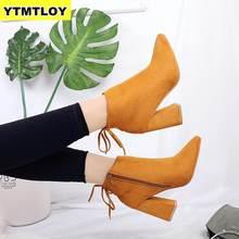 HOT Women Boots Flock Pointed Toe Winter Ladies Thcik Heel Western Stretch Fabric Shoes Zapatos De Mujer Ankle Yellow Boots(China)