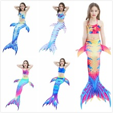 Summer Girls Kid Cosplay linda cola de sirena Princess Bikini Set Multicolor Trajes de baño para 2-12Y Baby Girls Child