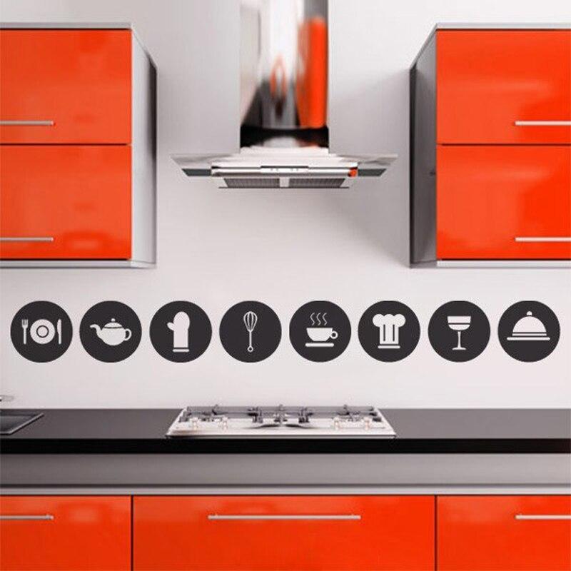 8pcs Cute Kitchen Decorative Pictograms Circle Cooking Tools Vinyl Diy