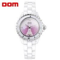 Promo Reloj de pulsera marca DOM de cerámica de lujo para mujer, reloj de vestir para mujer, reloj informal de cerámica, reloj femenino T-598K