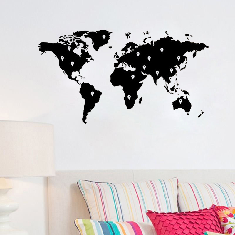 Vinyl Wall Decal World Map Wall Stickers Earth Atlas Shiluette Art Decor Sticker Removable DIY Home Mural L115