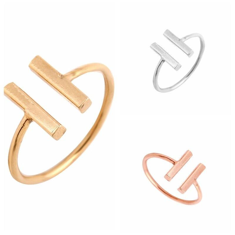 Smjel Новый Простой Уникальный двойной бар кольца для Для женщин Регулируемая панк геометрический скор Открытые Кольца Обручение кольцо вече... ...