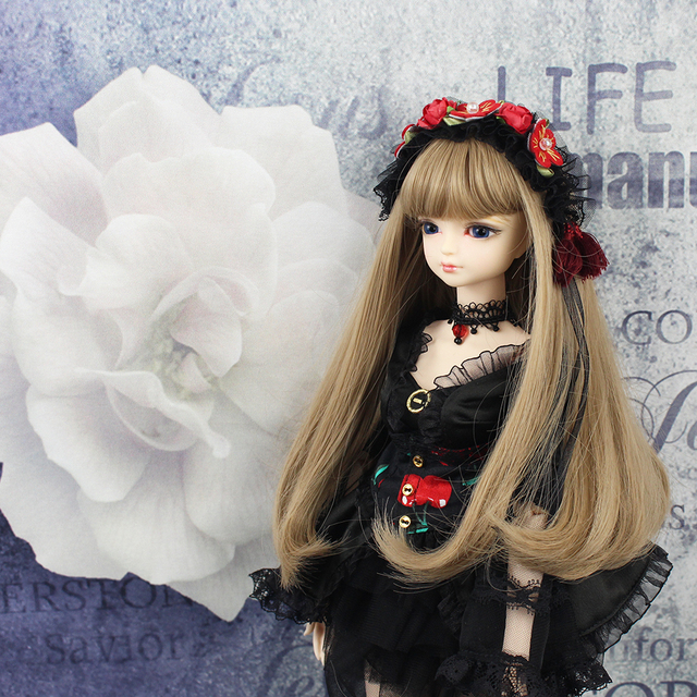 free shipping 1/4 bjd doll 45cm with/without clothes shoes long brown wavy hair makeup joint body 5