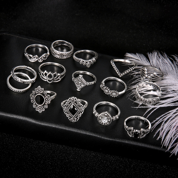 15 PCS/Set Fashion Flower Stone Midi Ring Crown Star Moon Vintage Crystal Opal Knuckle Rings for Women Anillos Mujer Jewellery 3