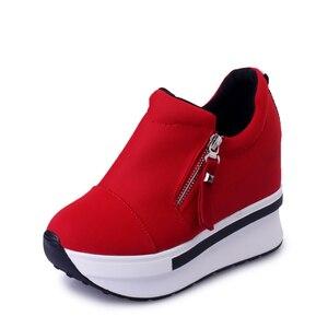 Image 2 - CoolCept kobiety buty ze sprężynami kobiety moda buty na koturnach Zip szpilki trampki płytkie obuwie damskie rozmiar 35 40