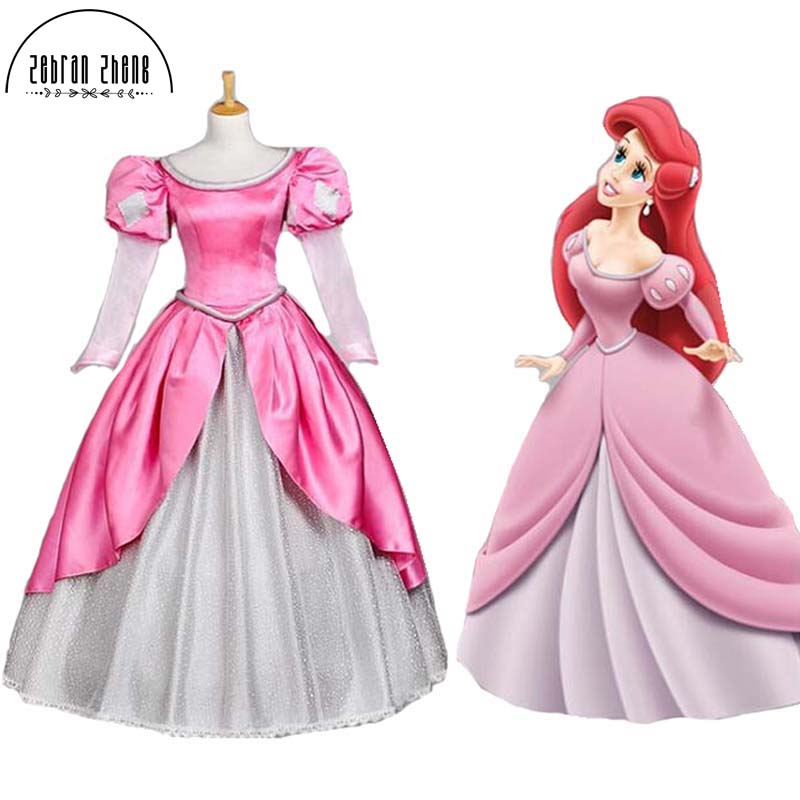 Free Shipping The Little Mermaid Ariel Princess Cosplay Costume Dress For Adult Women Party hot sell free shipping seraph of the end krul tepes pink long clip ponytail cosplay party wig hair