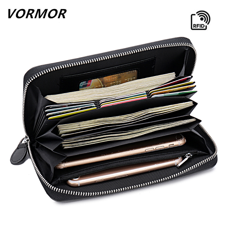 VORMOR Zipper Money Clip Wallet Clutch Bag Men's Purses Genuine Leather Men Wallets Leather Man Wallet Long Male Purse men clutch bag italian vegetable tanned leather long wallet luxury phone wallets wristlet male purse man clutch hand bag purses