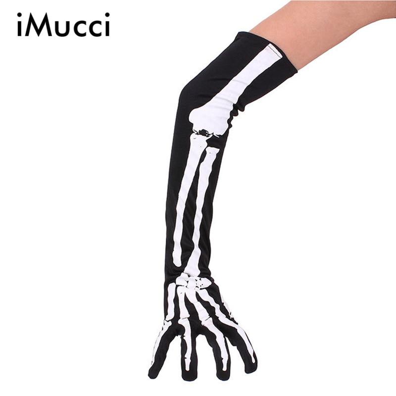 Imucci Women Halloween Skeleton Gloves Arm Half Finger Sleeves