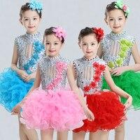 Yeni çocuk caz performans elbiseler tutu payetler bale kızlar için çocuklar modern dans kostümleri için dress pateni elbiseler