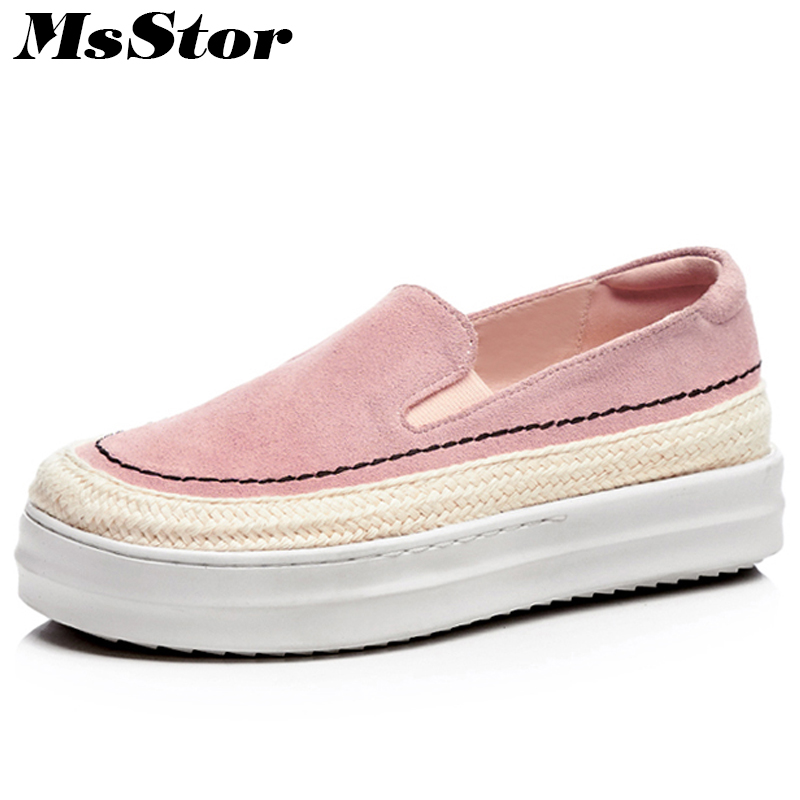 MsStor Round Toe Height Increasing Women Shoes Fashion Shallow Casual Women Flat Shoes 2018 Platform Slip On Loafers Women Flats new shallow slip on women loafers flats round toe fishermen shoes female good leather lazy flat women casual shoes zapatos mujer